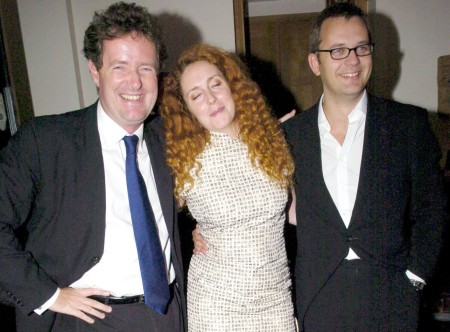 BUGGERS PIERS MORGAN and his friends Rebekah Brooks and Andy Coulson at the height of their power in 2004. Morgan edited the Mirror, Brooks The Sun and Coulson the News of the World. All three tabloids were hacking phones at that stage. Coulson and Brooks — long-term on-off lovers — were tried at the Old Bailey in 2014. Brooks was acquitted but Coulson was gaoled for 18 months. Picture: Richard Young / REX