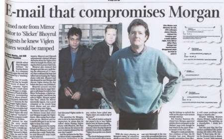 KILLER EMAIL v URBAN MYTH THIS IS the email David Seymour believed proved Piers Morgan knew the City Slickers were going to tip the Viglen shares. It was published in the Sunday Business in November 2000. Trinity Mirror say it's an